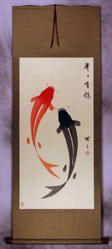 Yin Yang Koi Fish Wall Scroll - Asian Art Bargain Bin - Asian Artwork