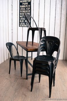 Black powdercoated cafe style chair