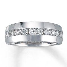 Mens Diamond Ring 1 ct tw Round-cut  14K White Gold