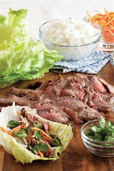 Onion-Sesame Flank Steak Lettuce Wraps