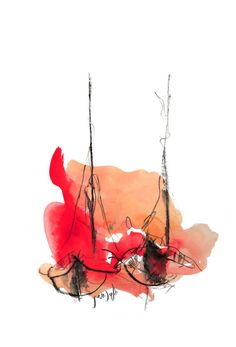 Red abstract watercolor painting sailboat watercolor by SeferArt, $73.00