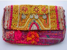 boho embroidered clutch bag