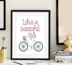 Life is a beautiful ride art Typography poster Bicycle art print Christmas gift for her Inspirational quote teen girls room decor 11x14 art