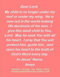 a mother's prayer for her adult child