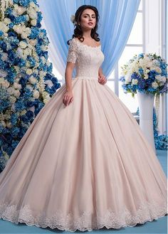 Wonderful Tulle Sheer Jewel Neckline Ball Gown Wedding Dress With Lace Appliques & 3D Flowers & Beadings