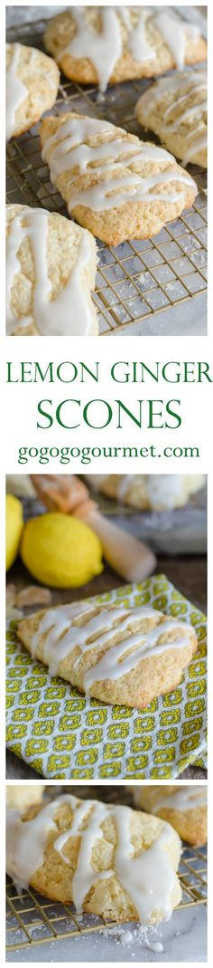 """These  scones are more like """"scuffins""""- half scone, half muffin. And the flavors are so fresh and light! Glazed Lemon Ginger Scones 