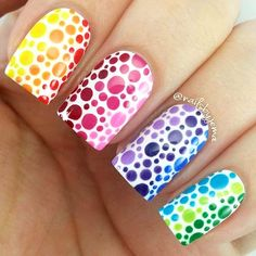 This rainbow nail art puts a twist on the traditional French manicure. Check out all of the best rainbow nail designs. Dot Nail Art, Polka Dot Nails, Acrylic Nail Art, Polka Dots, Diy Nails, Cute Nails, Pretty Nails, Nail Art Orange, Rainbow Nails