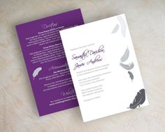 Feather wedding invitation shimmer cardstock by appleberryink, $1.00