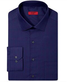 Alfani Dress Shirt, Fitted Navy Space Dye Check Long-Sleeved Shirt - Dress Shirts - Men - Macy's