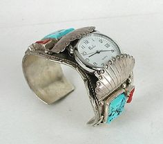 Authentic Native American NOS Vintage Turquoise Coral and sterling silver side-mount watch cuff by Navajo Chris Yazzie
