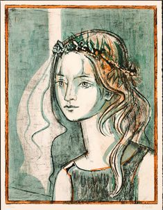 Girl with a Crown, 1967. By Françoise Gilot (France, born 1921). Lithograph.