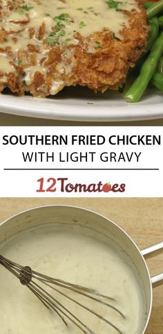 Southern Fried Chicken with Light Gravy Turkey Dishes, Turkey Recipes, Meat Recipes, Chicken Recipes, Cooking Recipes, Recipies, Tortellini, 12 Tomatoes Recipes, Food Dishes