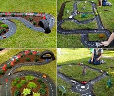 How To Make A Backyard Race Car Track Best Picture For kids backyard playground For Your Taste You a Outdoor Car Track For Kids, Kids Race Track, Car Tracks For Kids, Backyard Toys, Backyard Playground, Backyard For Kids, Playground Ideas, Outdoor Play Areas, Outdoor Fun