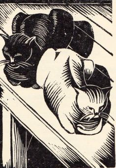 John Nash depicted cats in wood engravings. Most of the cats are captured in a typical cat position, sitting on a chair sleeping.
