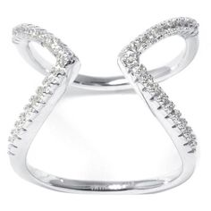 Cubic Zirconia Sterling Silver Chevron Ring ($23) ❤ liked on Polyvore featuring jewelry, rings, long sterling silver rings, chevron ring, sterling silver jewellery, sterling silver cz rings and cubic zirconia rings
