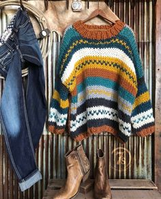 The Durango – Savannah Sevens Western Chic Western Chic, Mode Outfits, Fashion Outfits, Womens Fashion, Winter Sweaters, Sweaters For Women, Savannah Sevens, Chunky Oversized Sweater, Knit Patterns