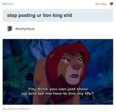 Didn't you learn anything from Lion King ? Hakuna matata, anon. Hakuna matata.   27 Tumblr Responses That Are Too Clever For Their Own Good