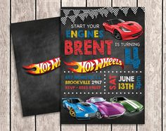 Hot Wheels Chalkboard Birthday Invitation with by aSugarWonderland