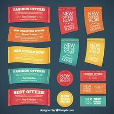 Labels de mode textile dans un style coloré Vecteur gratuit