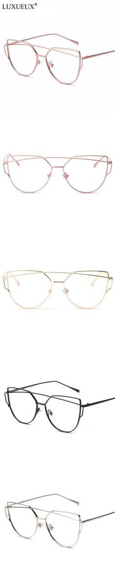 Trendy Women Eyewear Cat Ear Rose Gold Metal Frame Twin-Beams Women Optical Eyeglasses Fashion Designer Glasses Frames For Women