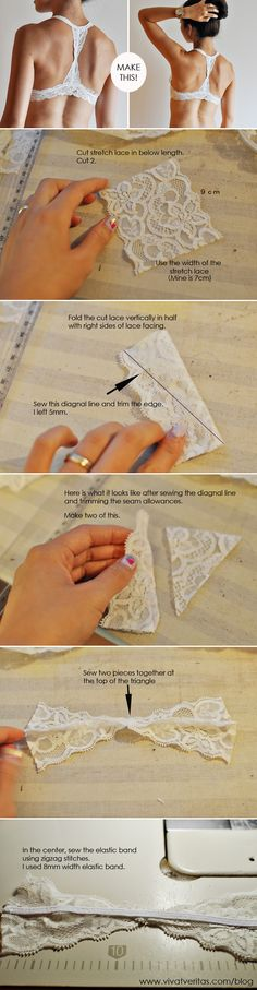 "The best DIY projects & DIY ideas and tutorials: sewing, paper craft, DIY. DIY Clothing & Tutorials Racer Back Bra Sewing Tutorial (via vivatveritas) ***This is actually just a racer-back variation made to the ""Watson"" Sewing Bras, Sewing Lingerie, Sewing Clothes, Dress Sewing, Sewing Hacks, Sewing Tutorials, Sewing Projects, Sewing Patterns, Dress Patterns"