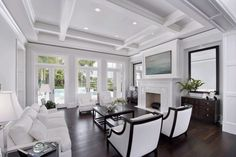 Coffered ceiling living room living room transitional with white beams coffered ceiling white walls