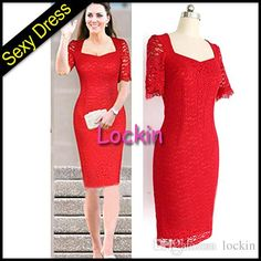 #dhgate Kim Kardashian Red Lace Dress for Valentine's Day High Neck Pencil Skirt Mini Evening Party Dress Knee Length Short Sleeve Cocktail Dresses from Lockin,$9.32 | DHgate.com