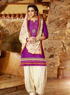 Casual wear Latest fashion patiala salwar suit in Violet D15452
