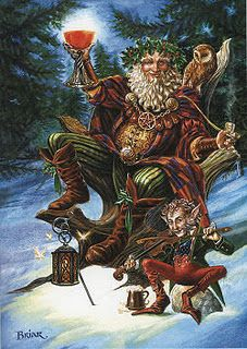 """FESTIVE DRUID"" Yule card by English artist Briar"
