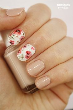 Floral poppy nail art design