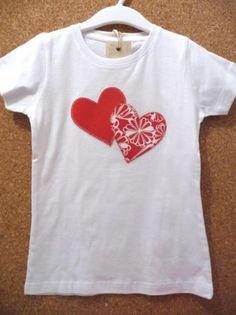 camiseta corazones rojos  camiseta de algodón,tela de algodón estampada,hilos de bordar aplique cosido a mano,patchwork
