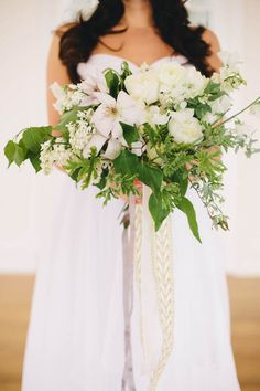 Fresh green and white bridal bouquet | Kate Osborne Photography | see more on: http://burnettsboards.com/2014/05/green-wedding-inspiration-brought-life-giveaway/ #bridal #bouquet
