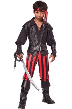 #00455 Embrace the sea because it's a pirate's life. Get ready to set sail in search of a long lost treasure. Costume features: - Black vest with attached sleeves - Red and black striped pants - Wrist