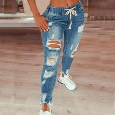 Denim Joggers, Ripped Denim, Jeans Pants, Distressed Denim, Skinny Jeans, Skinny Fit, Denim Style, Pants Style, Destroyed Jeans