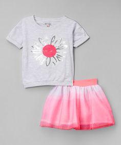 Look at this #zulilyfind! Heather Gray Sequin Flower Tee & Skirt - Infant, Toddler & Girls #zulilyfinds