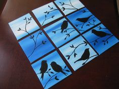 Birds painting set of 9 canvases by sheer joy on etsy