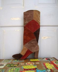1970s Suede Patchwork Hippie Boots Size 8