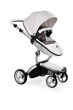Mima Xari - Snow White Seat, Autumn Stripes Starter Pack | The only stroller made with leatherette fabric, the Mima Xari is more than a pretty face. With a chic design and advanced features, this highly-customizable stroller strikes the perfect balance of fashion and functionality.