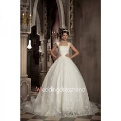 Romantic A-line Chapel Train Church Wedding Dress