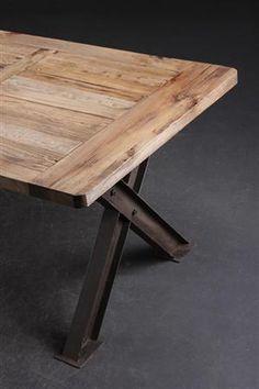 Vare: 3710136 Langbord/Spisebord i fransk antik landstil. Af genanvendt gammelt elmetræ