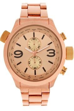 ASOS PREMIUM Mixed Metal Boyfriend Style Watch with Contrast Pushers and Crown Detail, $71.88