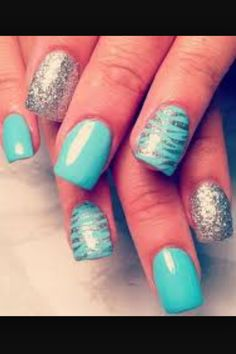 These are blue nails with silver glitter and zebra prints. So cute for kids and teens
