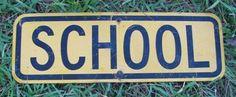 School 1970's Vintage Tin Blue & White Sign, Metal Collectible Student relic Schools, Wall Decor childhood nostalgia retro 70's Americana. $75.00, via Etsy.