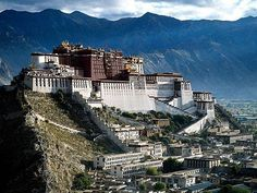CHINA/TIBET ~Potala Palace~ High above the capital of Tibet, Lhasa, the Potala Palace complex sits on top of mar-po-ri, the 'Red Mountain'. For centuries, until the chinese occupation of Tibet in it was the government seat and residence of the Dalai Lama. Places Around The World, Oh The Places You'll Go, Places To Travel, Places To Visit, Around The Worlds, Travel Destinations, Beautiful Castles, Beautiful Places, Amazing Places