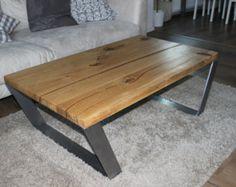 Recyclée table basse en bois chêne solide par DSMoebelmanufaktur