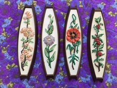 60's Four Seasons Wall Hanging Quartet // Mid Century Flowers Home Decor Plastic by ElkHugsVintage on Etsy