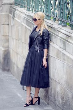 Modest Dark Tulle Skirt
