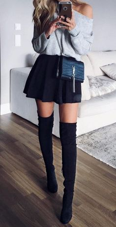 cute outfit with skirt and sweater