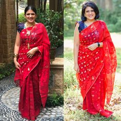 Red saree 2 ways to style it Red Saree, Sari, 2 Way, Gandhi, Indian Wear, Personal Style, Product Description, How To Wear, Fashion