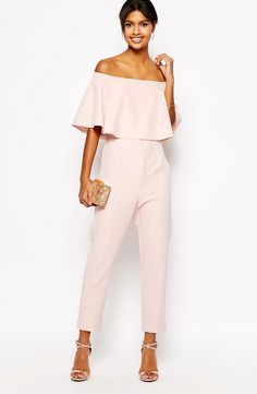 ASOS jumpsuit with ruffle bardot: http://www.stylemepretty.com/2016/07/27/how-to-wear-a-jumpsuit-to-a-wedding/